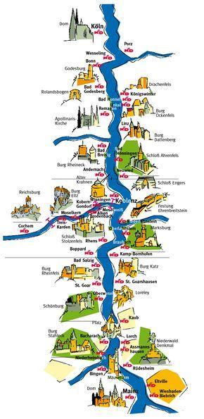 Kd Rhine And Moselle Port Maps Rhein Kreuzfahrt Reisen Ausflug