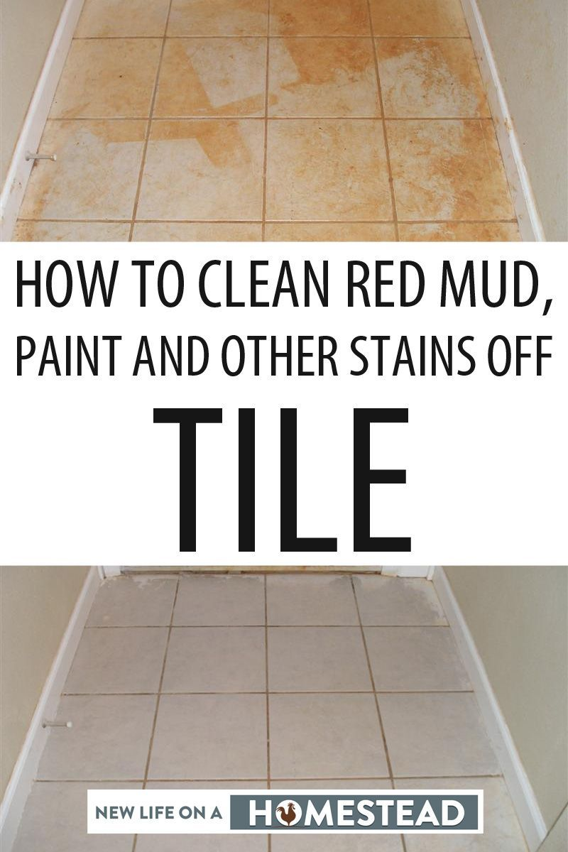 How To Clean Red Mud Paint And Other Stains Off Tile New Life On A Homestead Homesteading Blog In 2020 Cleaning Cleaning Tile Floors Clean Tile