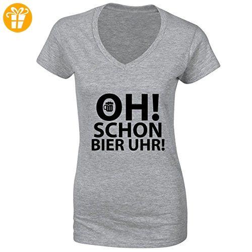 Oh! Schon Bier Uhr! Small Damen V-neck T-shirt (*Partner-Link)