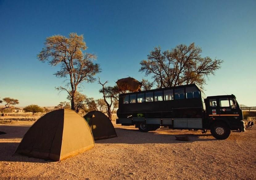Camping in the Namib Desert in Namibia on an overland tour