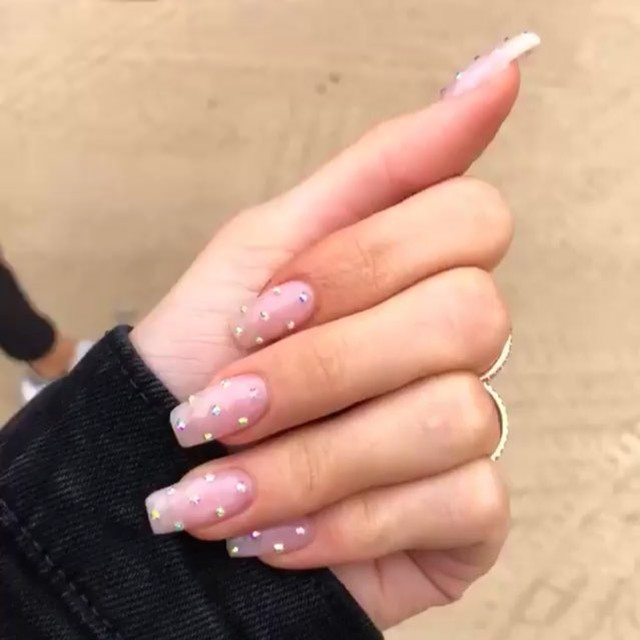 Kylie Jenner Nails On Instagram Pink Nails With Crystals Could Ve Been Diamonds It S Kylie Fckn Dusty Pink Nails Pink Acrylic Nails Baby Pink Nails Acrylic