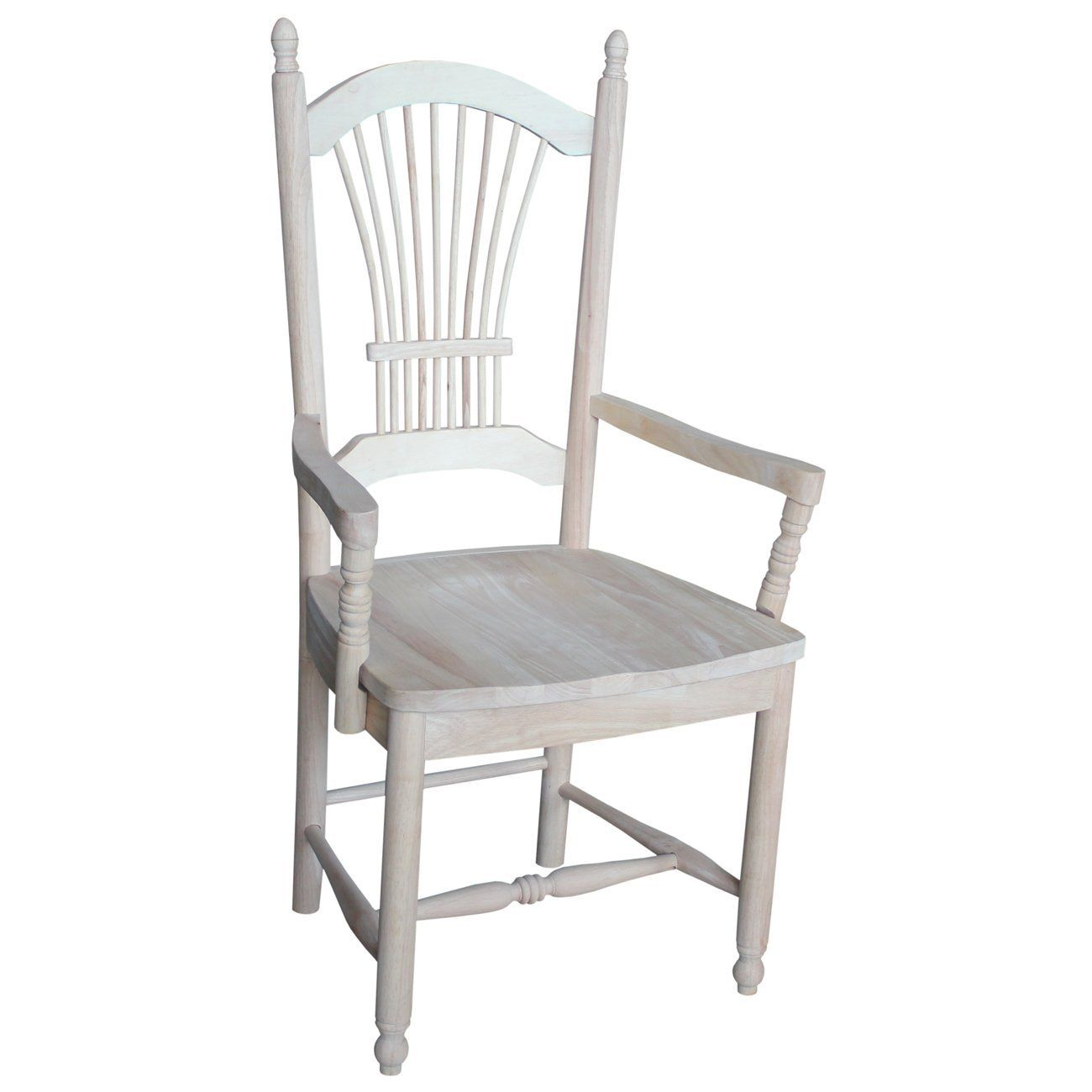 Amazon Com International Concepts C 1622 Sheaf Back Arm Chair Unfinished Traditional Dining Chairs Dining Chairs Office Chairs For Sale