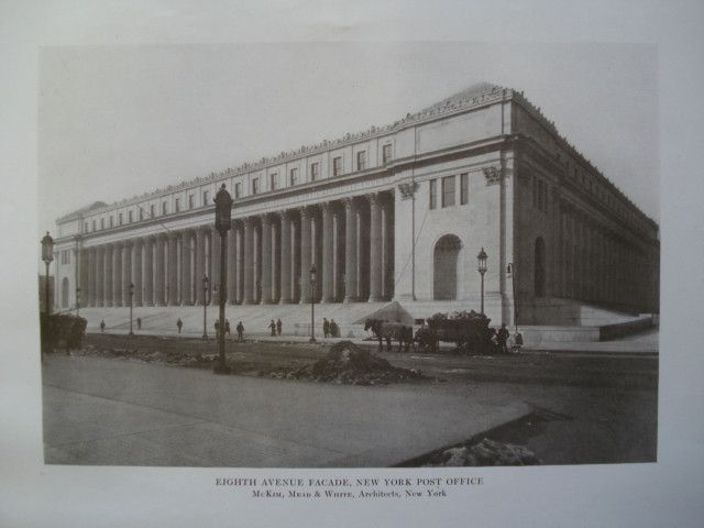 Eighth Avenue Facade Of The New York Post Office New York Ny 1913 Mckim Mead And White New York Post Post Office Facade