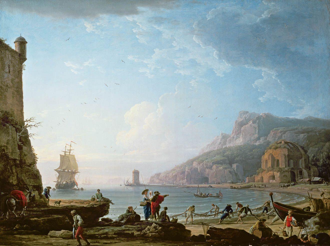 Vu d 39 une baie le matin claude joseph vernet s lection lasko pinterest le matin peinture - Le port de bordeaux par joseph vernet ...