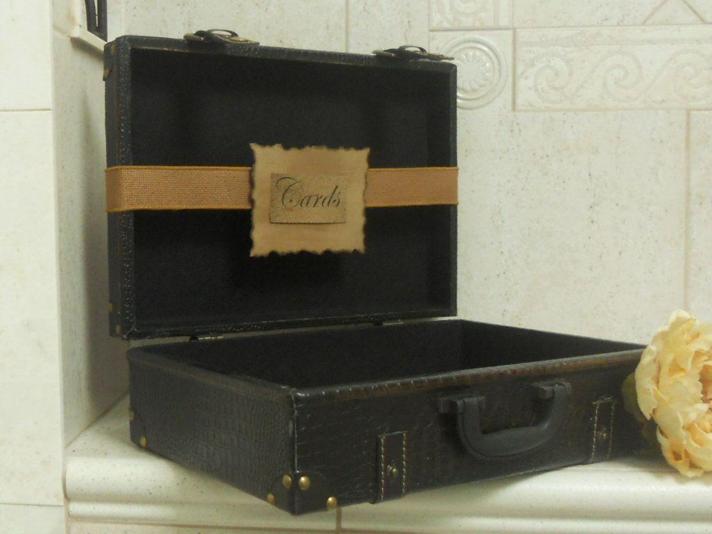 Sale Wedding Card Box Vintage Inspired  / Wedding Card Holder / Suitcase / Program Holder / Wedding Card box. $45.00, via Etsy.