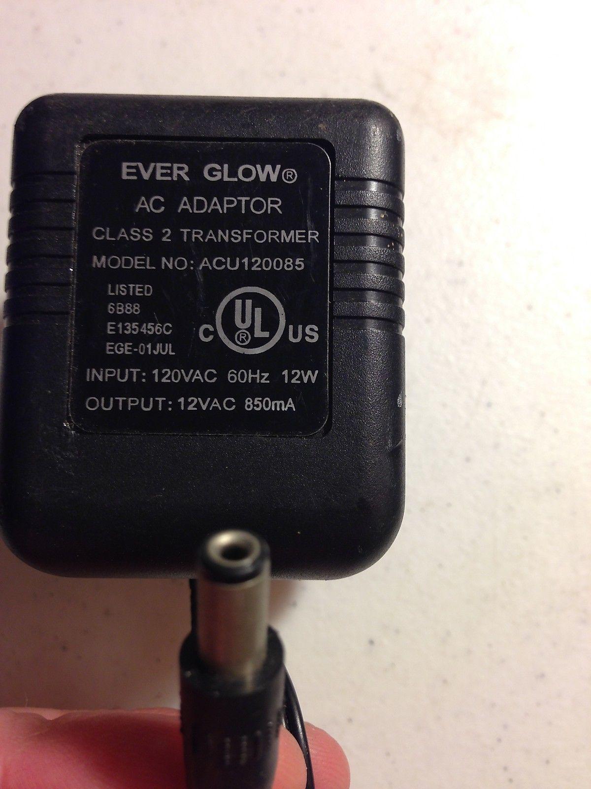 Genuine EVER GLOW 12VAC 850mA ACU120085 AC/AC WALL WART