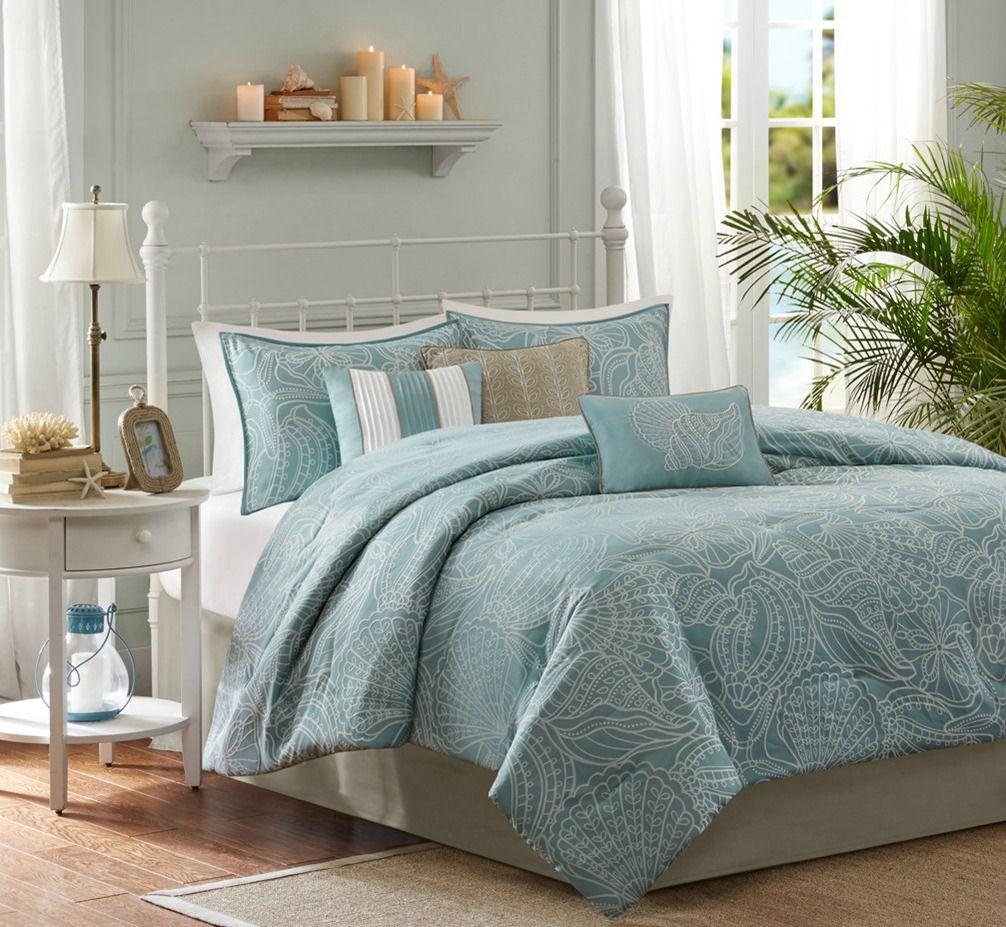 Carmel By The Sea Blue 7 Piece Comforter Set King Size Blue Comforter Sets Comforter Sets Coastal Bedrooms
