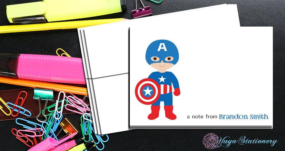 Personalized Captain America Stationery Custom Avenger Stationery