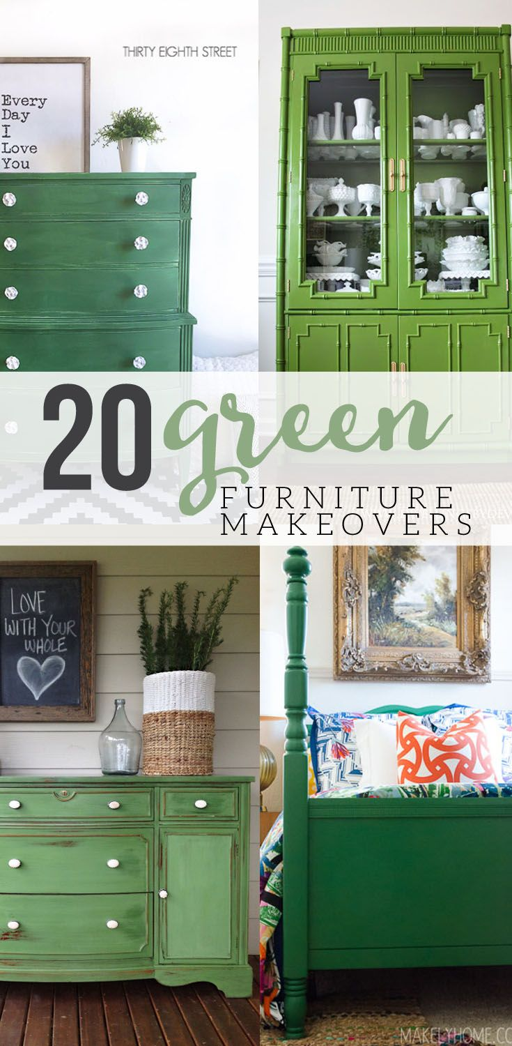 20 Green Painted Furniture Makeovers Green Painted