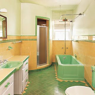 This Green And Yellow Bathroom Was In A Spanish Revival House The Homeowners Didn T Like It Much W Vintage Bathroom Tile Vintage Bathrooms Yellow Bathrooms