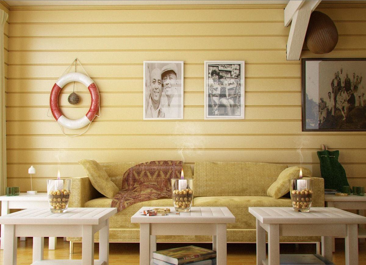 Coastal Living Room with yellow wood panell | Ideas for the House ...