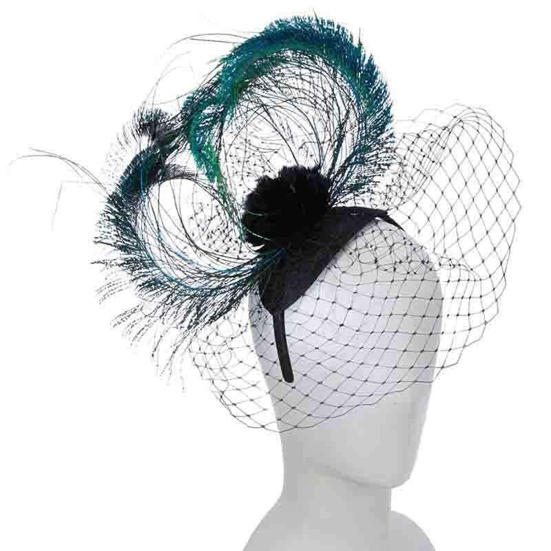 Peacock Feather and Netting Fascinator Headband - Scala #fascinatorstyles