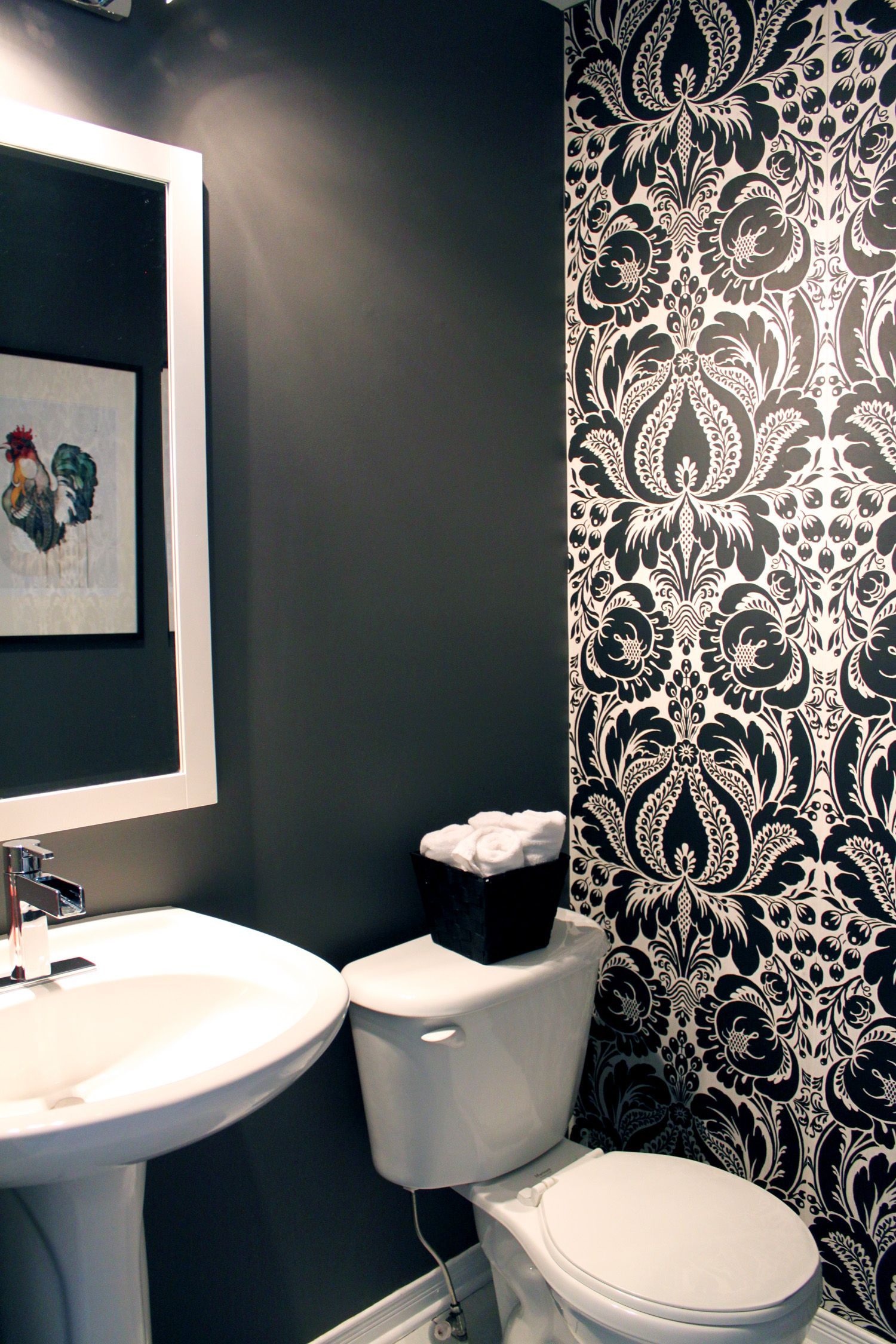 I like the idea of doing 1 wall in a powder room with a - Powder room wallpaper ideas ...