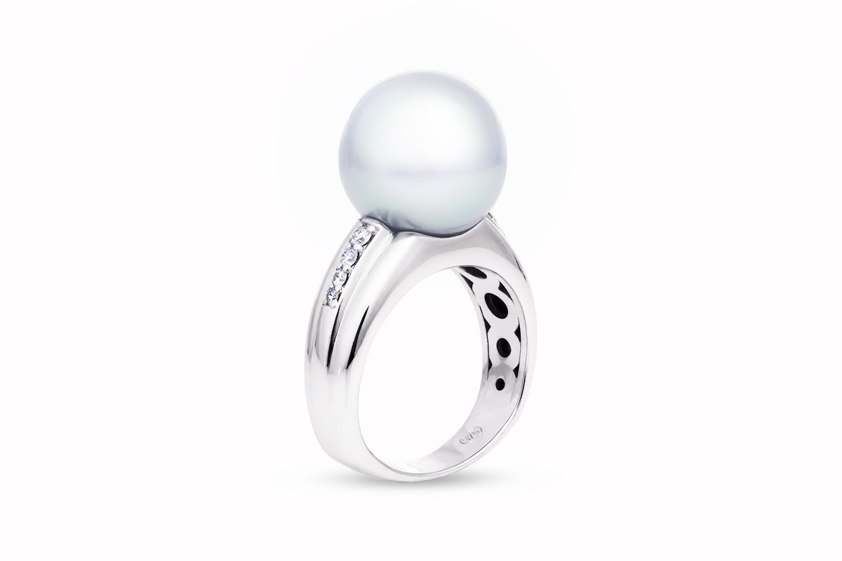 South sea pearl and diamond ring custom made as a clients birthday