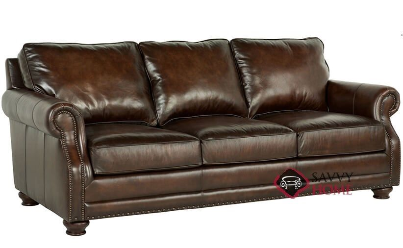 Princeton Leather Sofa With Down Blend Cushions By Bernhardt In 165 220 At Savvy Home 1 819 00