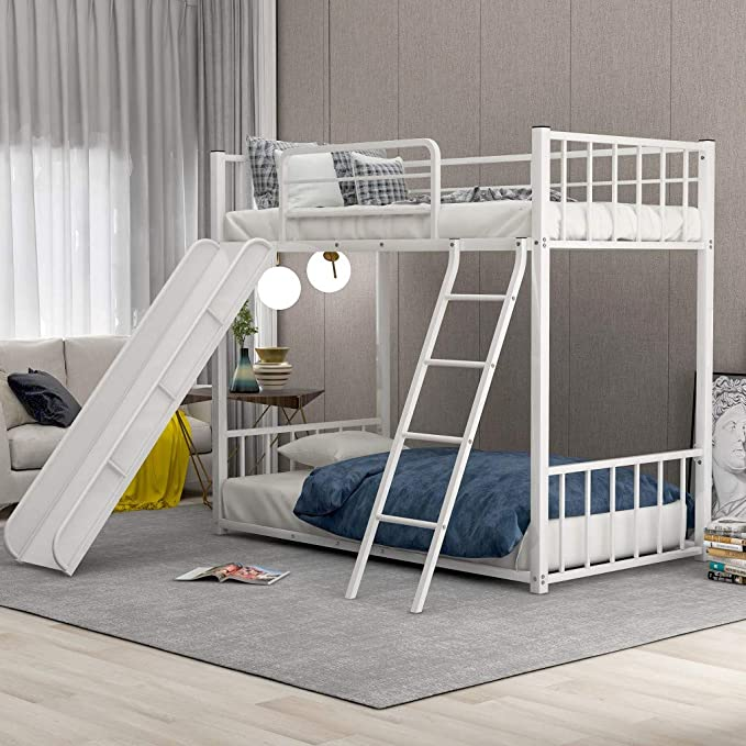 Amazon Com Twin Bunk Beds For Kids Metal Bunk Bed With Slide No Box Spring Required White Low Bunk Beds Bed With Slide Metal Bunk Beds Bunk Bed With Slide