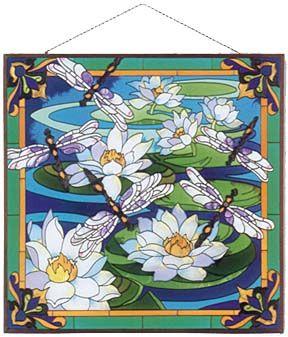 Джоан Бейкер стеклянная панель лилии стрекоза воды