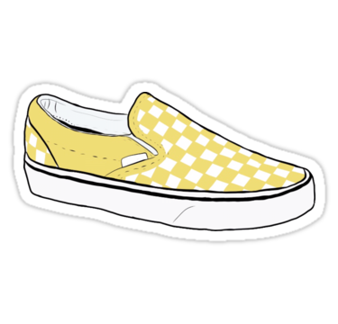 Yellow Checkerboard Vans Sticker By Stevendoherty13 In