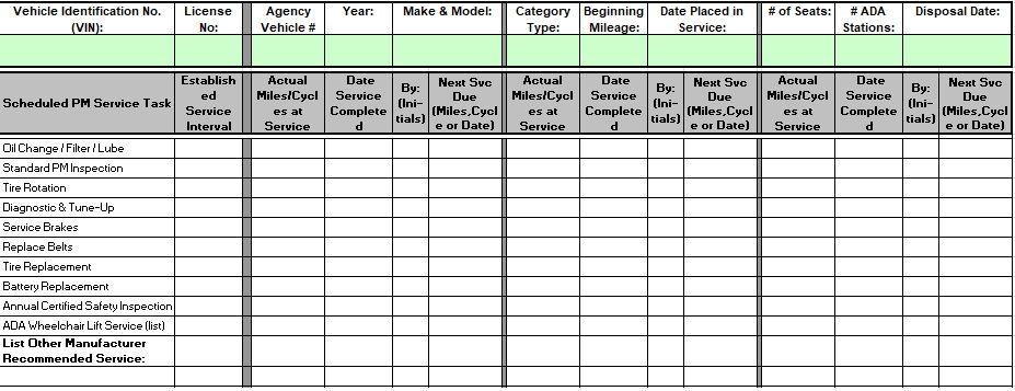 Fleet Maintenance Spreadsheet Excel Checklist Template Maintenance Checklist Excel Templates