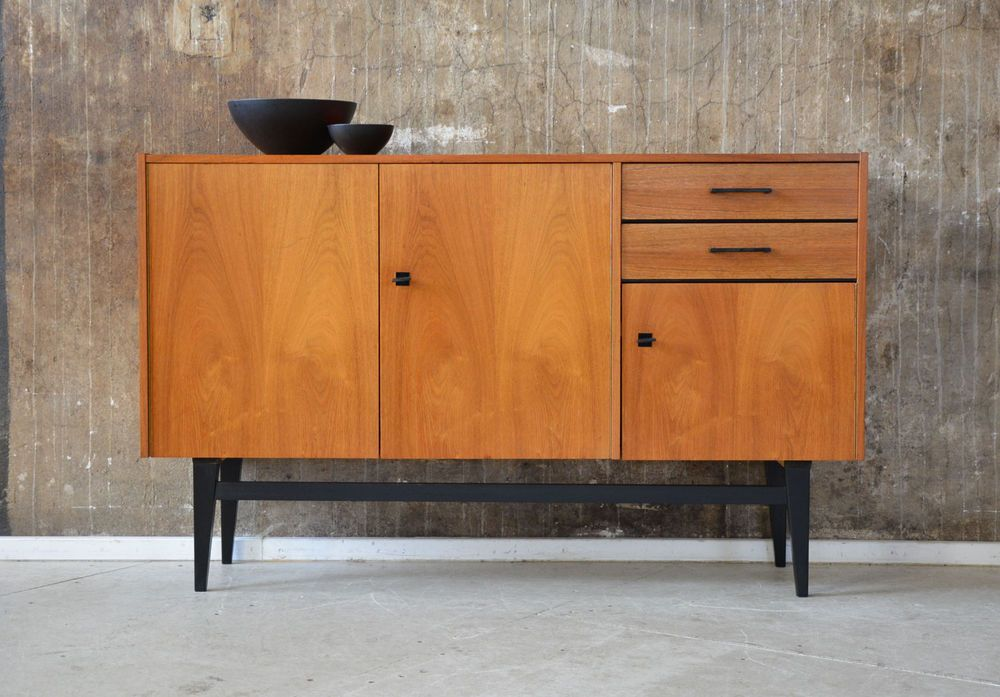 60er kommode nussbaum sideboard midcentury 60s vintage cabinet walnut 50er 50s sideboard cabinet. Black Bedroom Furniture Sets. Home Design Ideas