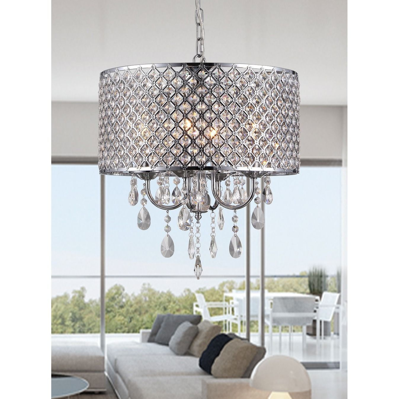 Warehouse Of Tiffany Oisetta 4 Light Chrome Grey Finish Crystal 17 Inch Round Chandelier
