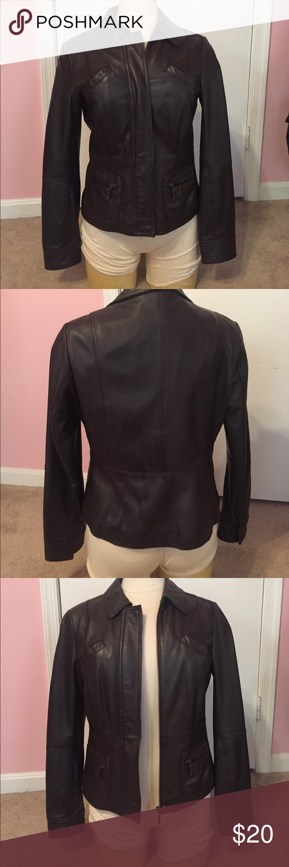 Dark brown faux leather jacket Used, good condition Max USA Jackets & Coats