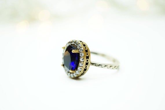 Hurrem sultan ottoman stylish 925k blue sapphire oval ring | Etsy