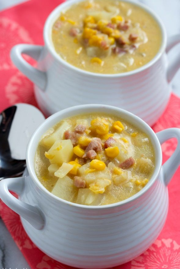 Slow cooker corn chowder.Delicious chowder with pancetta and vegetables cooked in slow cooker.
