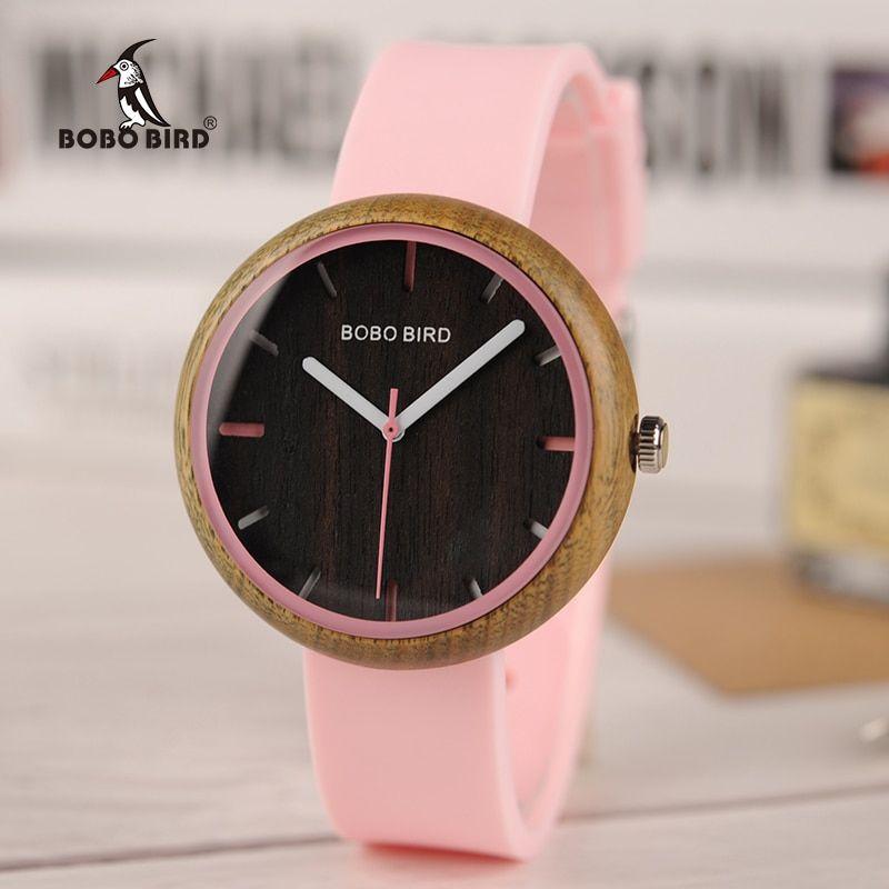 Bayan Kol Saati Bobobird Wood Watch Women Quartz Wristwatches Silicone Band In Gift Box Reloj