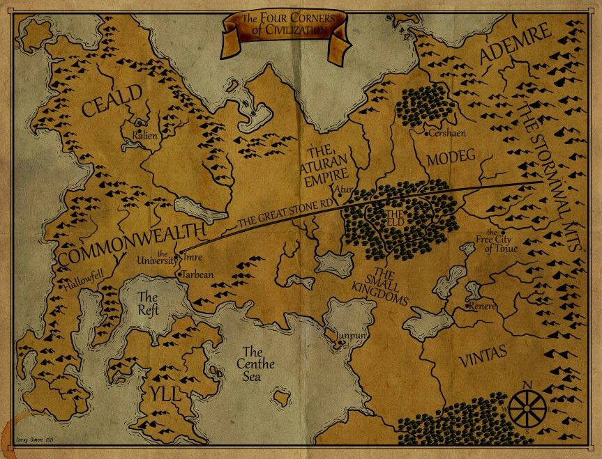Patrick Rothfuss- The Kingkiller Chronicle map | Art in 2019 | The on the riyria chronicles map, unicorn chronicles luster of a map, powder mage trilogy map, terry pratchett discworld map, jim butcher codex alera map,