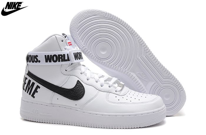 Nike Air Force 1 High Supreme SP White Black Men's Sneakers Shoes 698696 100