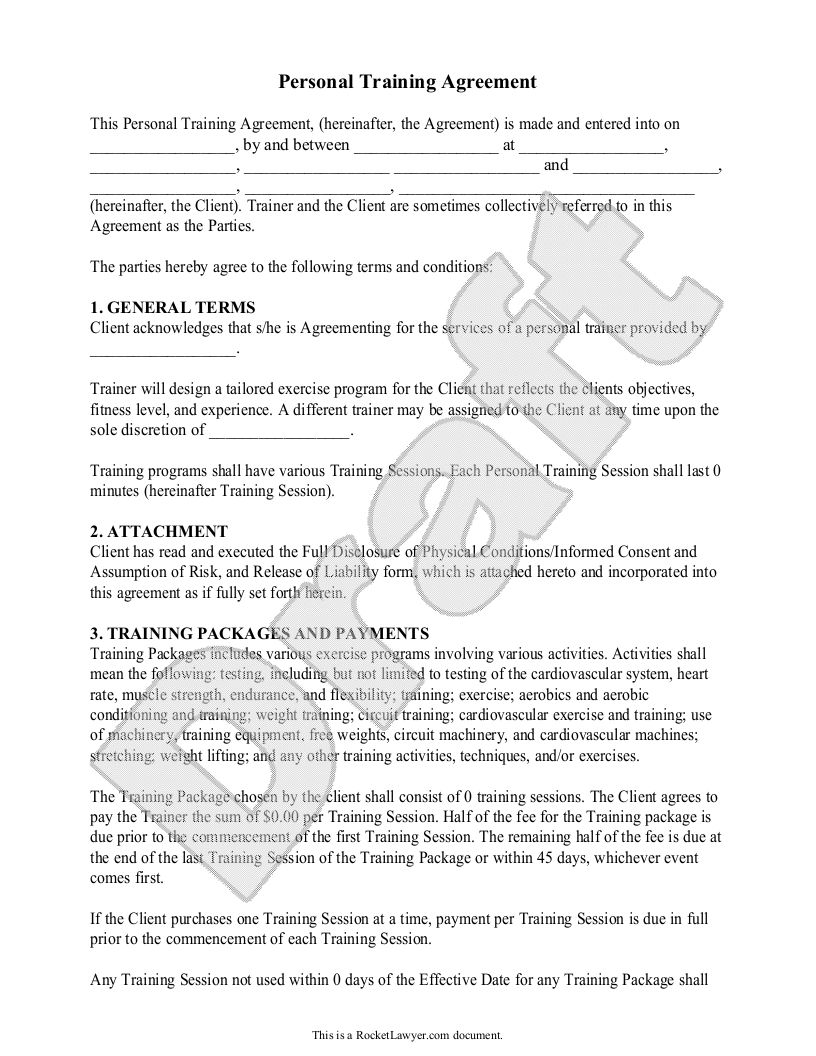 Training Services Agreement Template Printable Personal Training Personal Training Business Contract Template