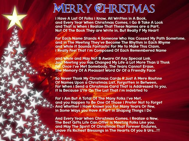 poetry christmas poem for friends with card