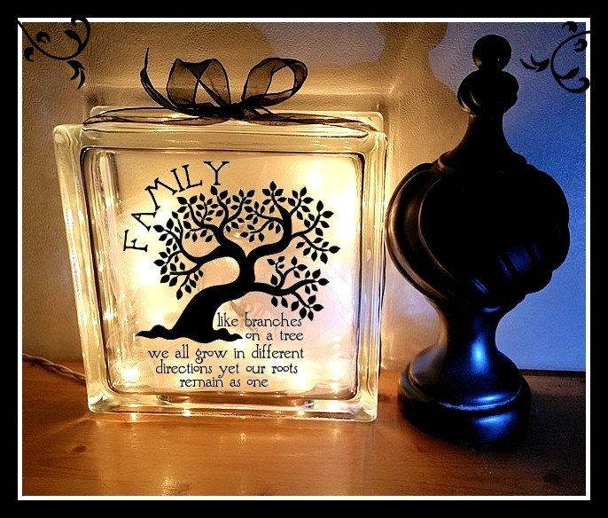 craft ideas for glass blocks family quote with tree glass block light tammy diy 6176