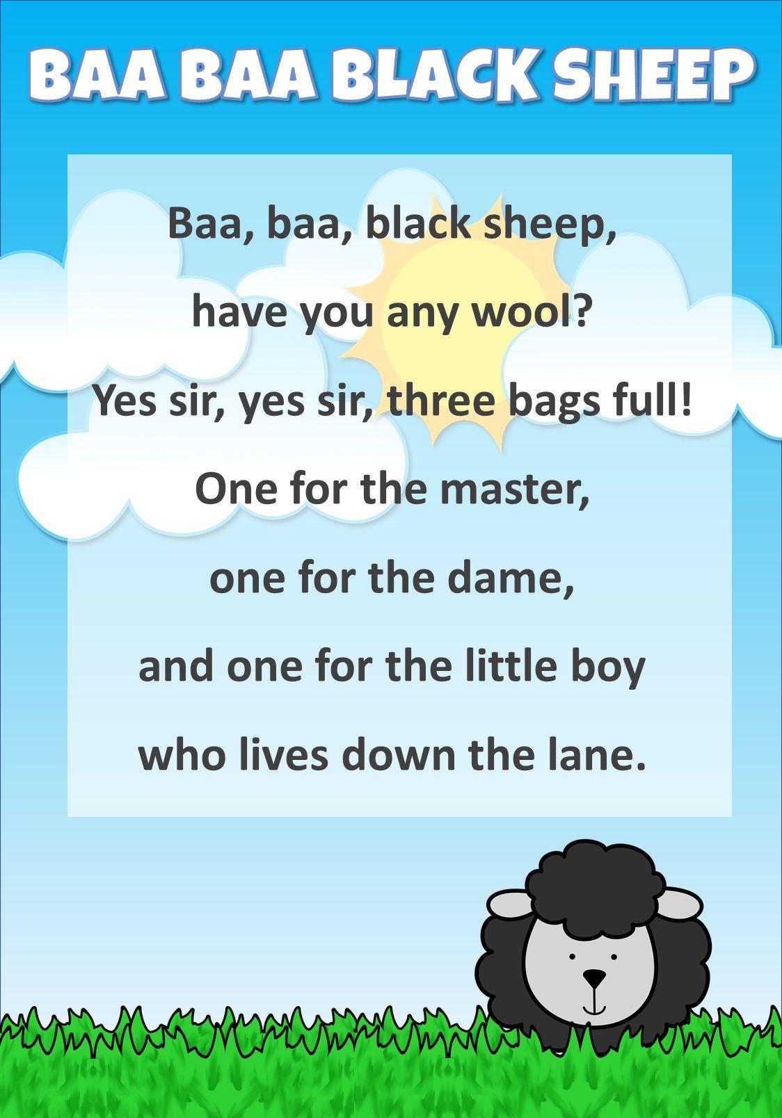 Baa Baa Black Sheep Baa Baa Black Sheep Black Sheep Nursery Rhymes Lyrics