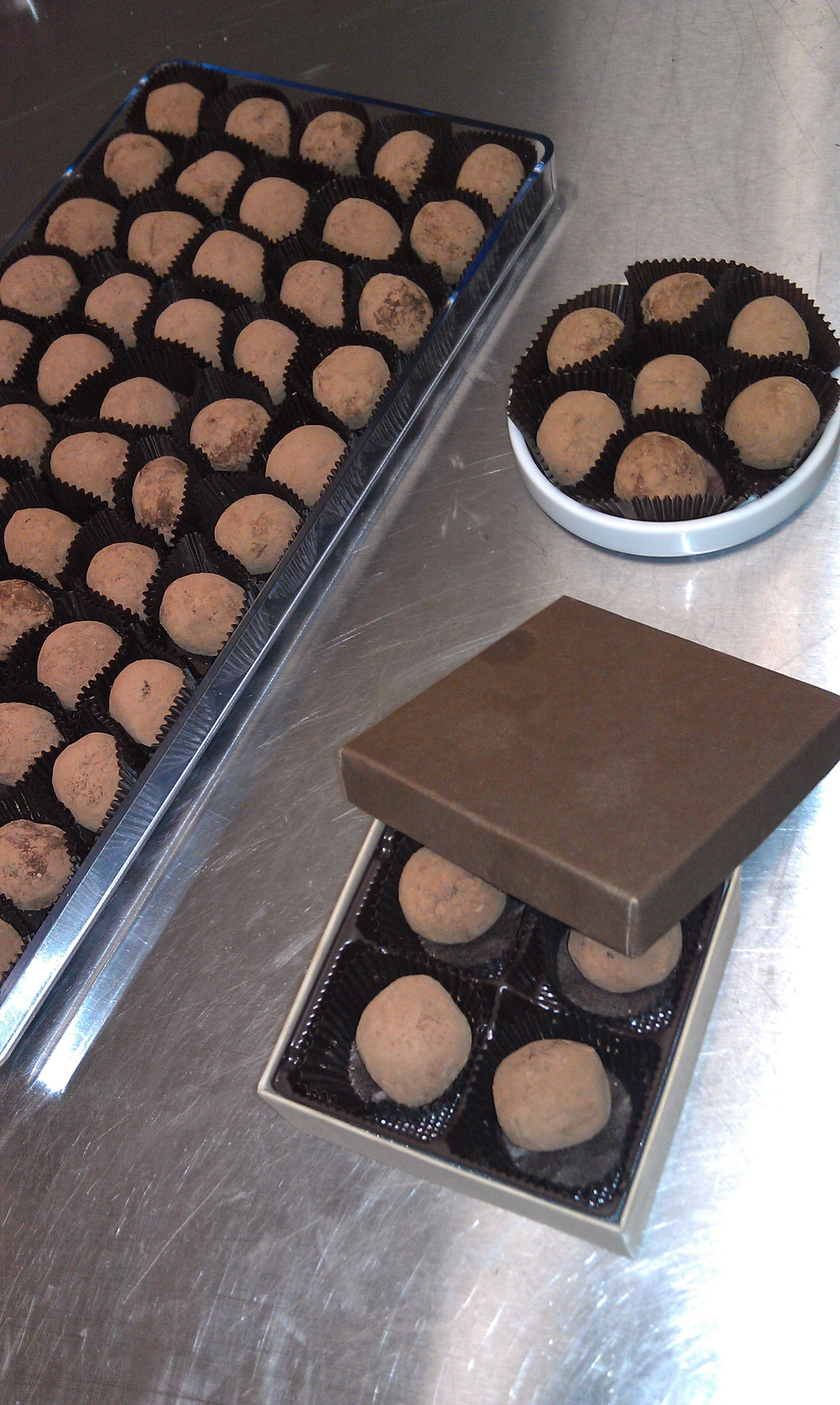 Classic milk chocolate truffles dusted in cocoa powder