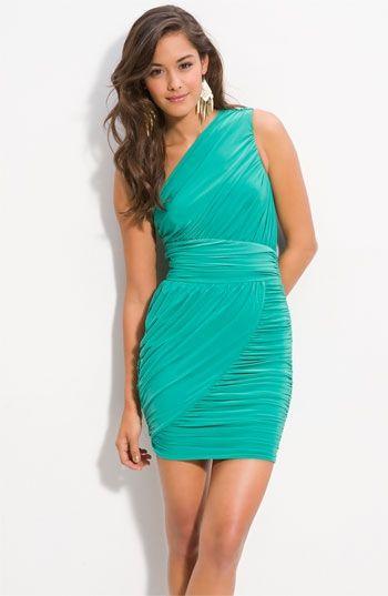 One Shoulder Green Dresses for Juniors