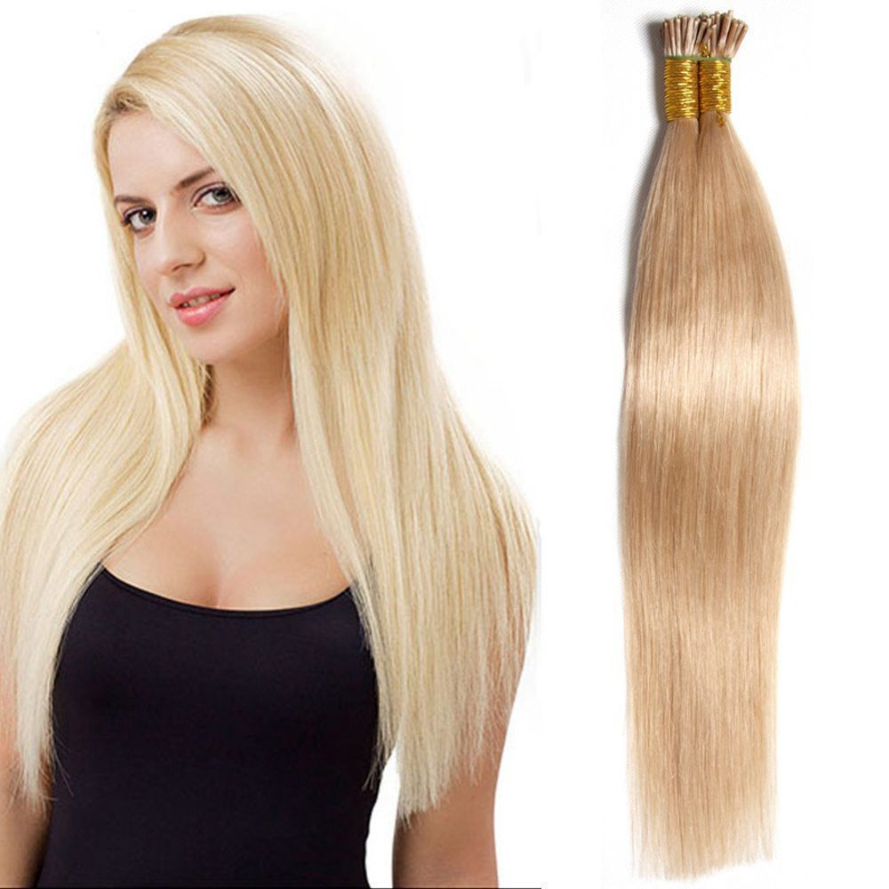 100s Stick I Tip 100 Remy Real Human Hair Extensions Keratin Glue