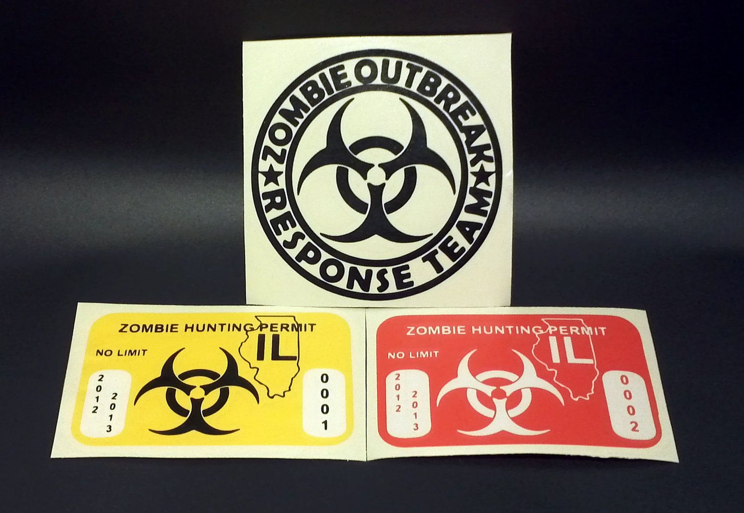 Zombie Hunting Permit Logo Decal Sticker