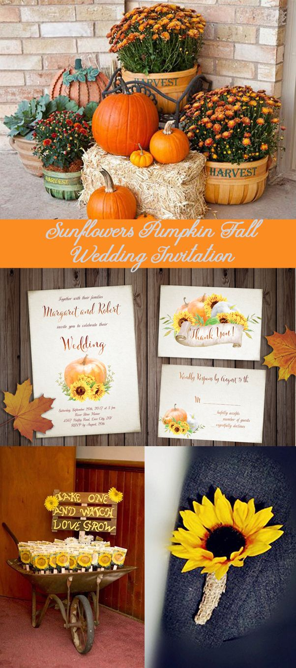 Sunflowers Pumpkin Fall Wedding Invitation Set Printable