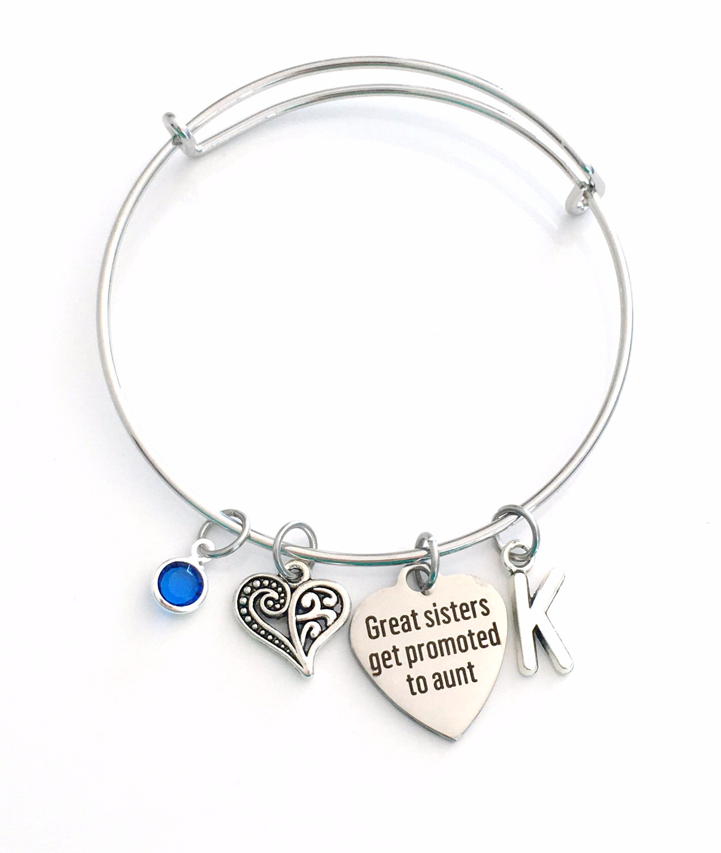 Initial Bracelet Only the best sisters get promoted to aunt Great sisters get promoted to aunt Great Gift sisters for Pregnancy Reveal