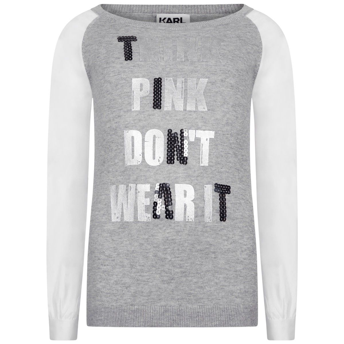 Karl Lagerfeld Girls Grey Think Pink Sweater | Karl Lagerfeld Kids ...