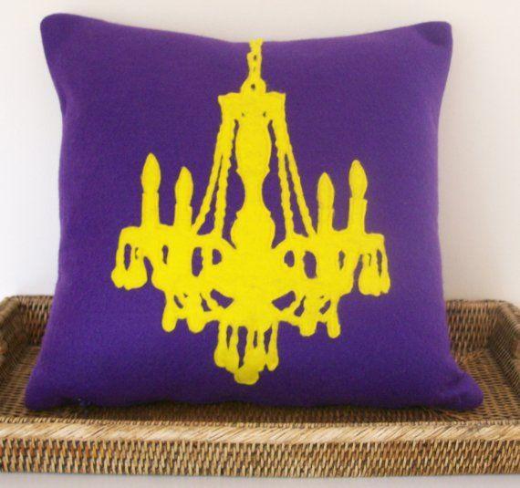 Chandelier Pillow Yellow On Purple Lsu Love