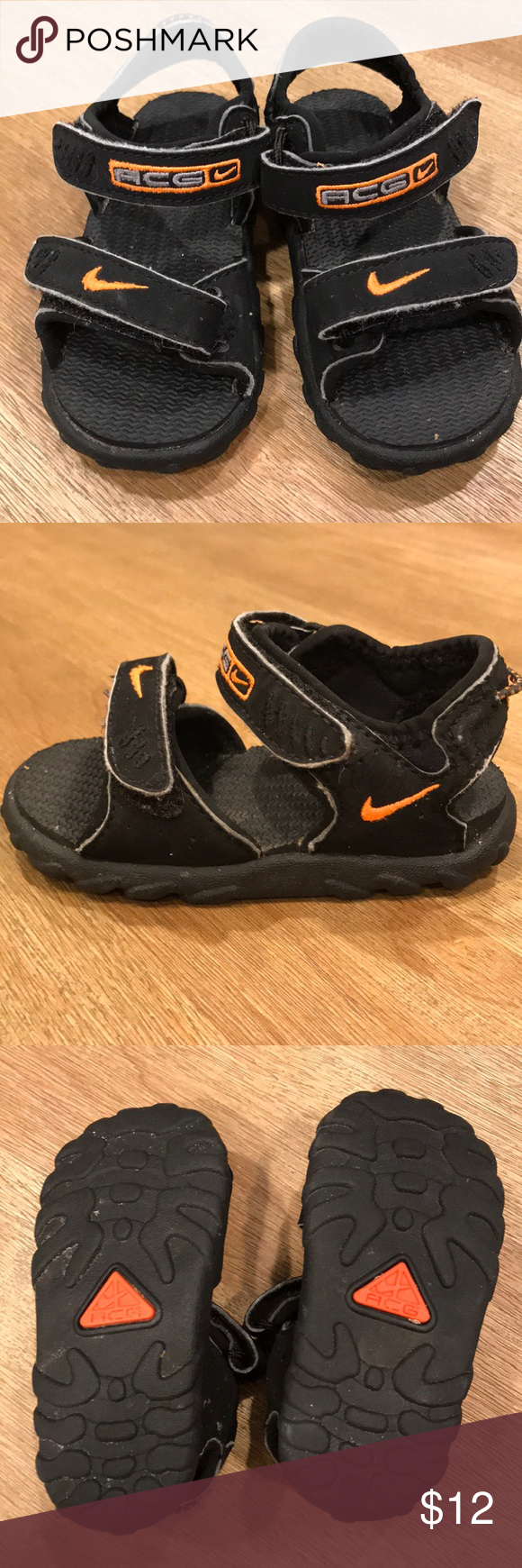 57471bb738ab2 Nike ACG Toddler Sandals    Size 5 Excellent condition black Nike ACG  little boys sandals. Adjustable straps at ankle and across bridge of foot  give plenty ...