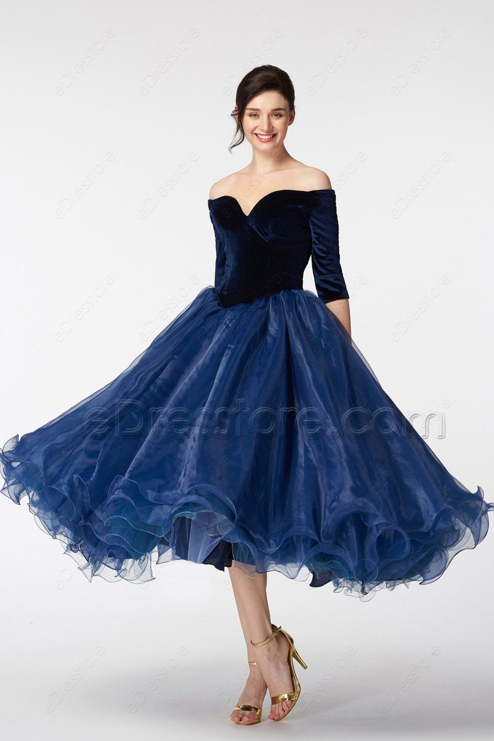 cf65a6357898 The navy blue vintage prom dress features the most popular off the shoulder  neckline