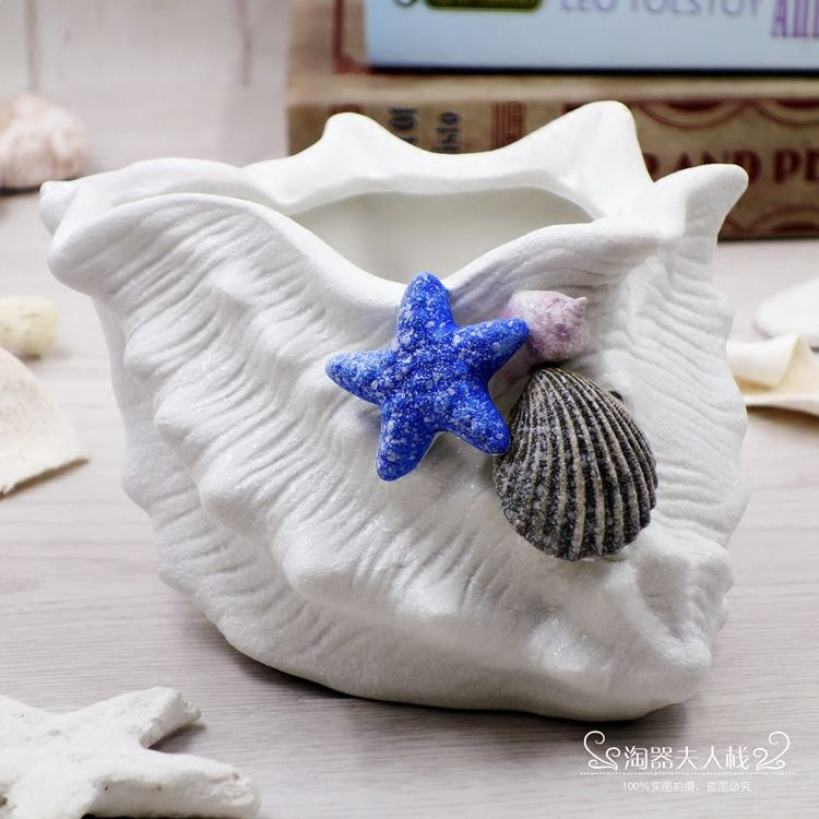 Click To Buy Mediterranean Ceramic Starfish Shell Conch Flowers Vase Candy Jewelry Plate Home Decor Porcelai Pretty Gardens Ceramic Succulent Flower Pots