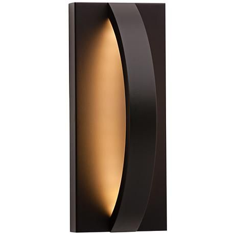 The hunter outdoor led wall light by lbl lighting has a smooth matte black finish and
