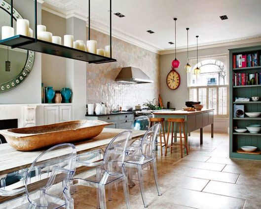 eclectic kitchen- love the airiness of the lucite chairs used here
