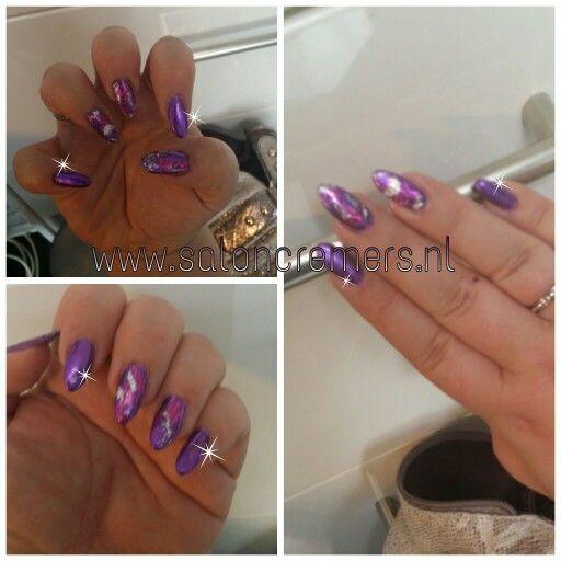 Chrome Purple Nails Nail Art With Silver Foil Almond Mountain Peak