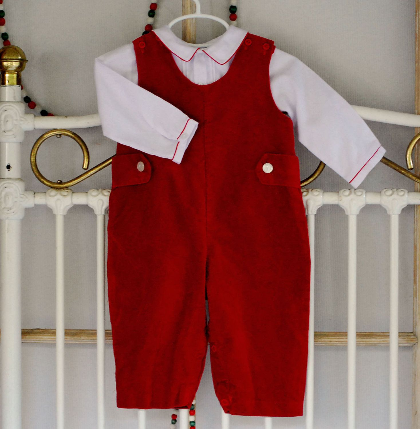 54e562f03 Red velvet Christmas outfit for baby boy. size 9 month. Fall Winter boy  clothes. button up shirt and velvet overalls. Holiday baby boy.. $17.00,  via Etsy.